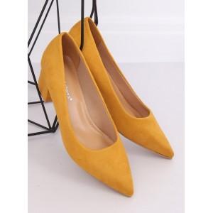 Pohodlné dámske semišové lodičky žltej farby