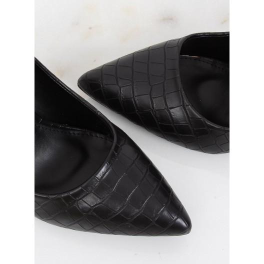 Dámske lodičky s imitáciou hadej kože čiernej farby