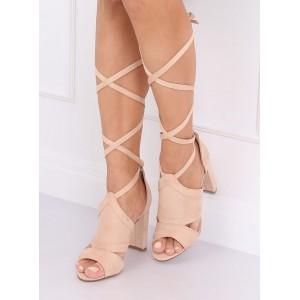 Vysoké dámske semišové sandále s elegantným viazaním
