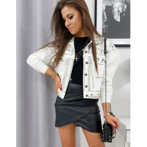 Biela dámska rifľová bunda s trendovým vybíjaním