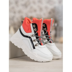 Členková športová obuv oranžovej farby pre dámy