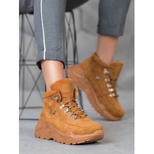 Hnedá dámska športová obuv na vysokej platforme