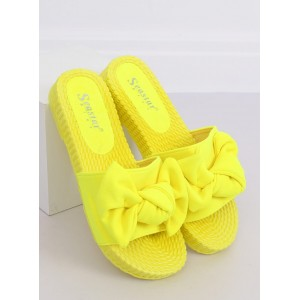 Trendy dámske neónovo žlté šľapky s módnou mašľou