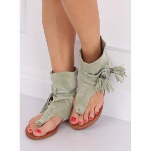 Krásne dámske zelené sandále s vysokým zvrškom a strapcami