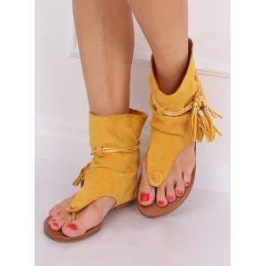 Extravagantné dámske žlté semišové sandále v boho štýle
