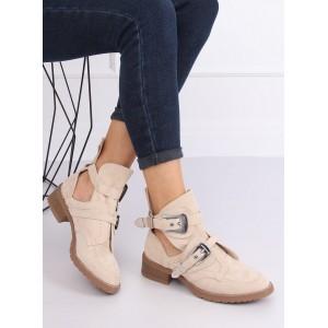 Béžové dámske kotníkové topánky s designovými prackami