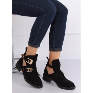 Moderné dámske čierne členkové topánky s top remienkami