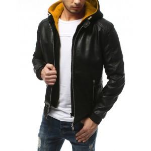 Pánska čierna kožená bunda s farebnou odnímateľnou kapucňou