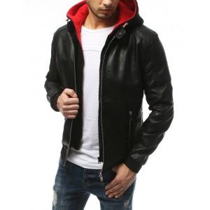 Pánska kožená bunda na zips s odnímateľnou červenou kapucňou