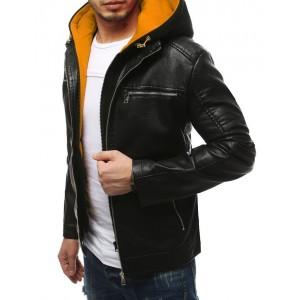 Moderná pánska kožená bunda s odnímateľnou kapucňou