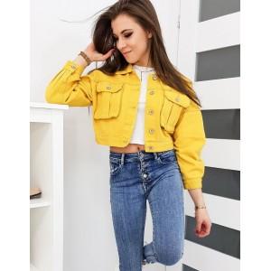 Štýlová dámska krátka rifľová bunda v žltej farbe