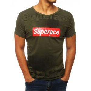 Trendové zelené tričko s nápisom pre pánov