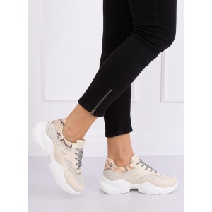 Moderné dámske béžové tenisky s haďou aplikáciou