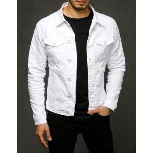 Štýlová pánska biela rifľová bunda