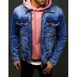 Pánska modrá rifľová bunda v módnom designe a zapínaním na zips