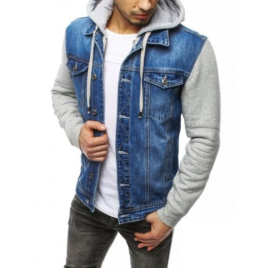 Trendy pánska rifľová bunda s kapucňou a rukávmi z bavlny