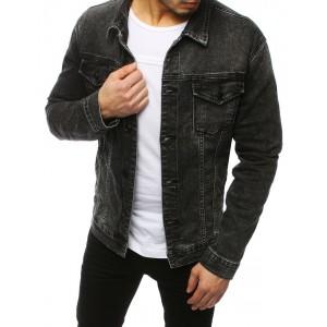 Štýlová čierna pánska rifľová bunda s aplikáciou kostry