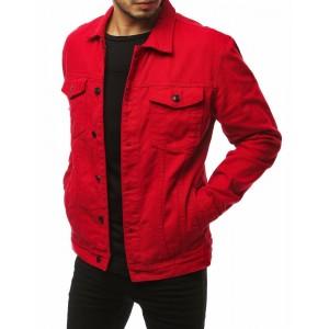 Perfektná pánska červená riflová bunda s originálnym nápisom