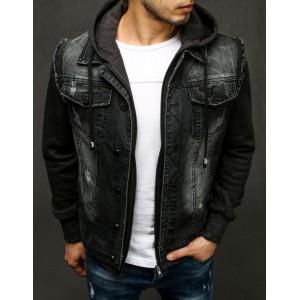 Čierna pánska rifľová bunda s módnym trením a kapucňou