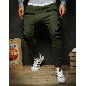 Zelené pánske športové nohavice s ozdobnými pruhmi