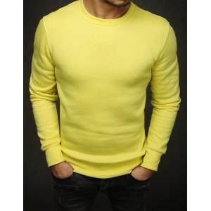 Žltá jednofarebná mikina bez kapucne