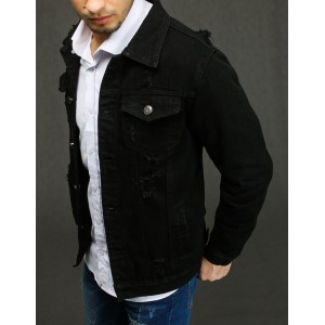 Čierna rifľová bunda s módnymi dierami pre pánov