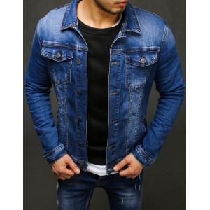 Klasická pánska rifľová bunda modrej farby