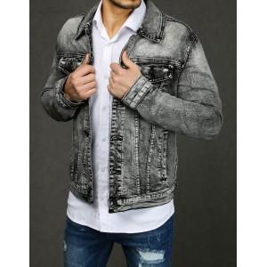 Exkluzívna pánska džínsová bunda s potlačou na zadnej strane