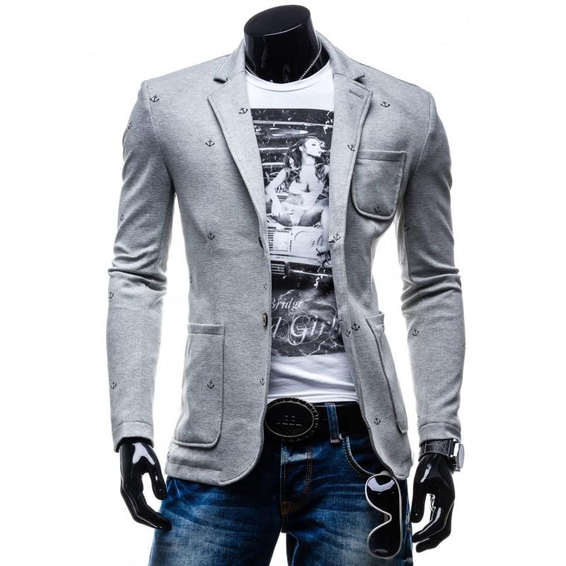 affb9858a8 Pánske športové sako sivej farby s motívom kotva - fashionday.eu