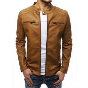 Jarná pánska kožená bunda so zapínaním na zips