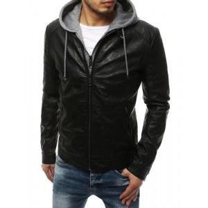 Prechodná čierna kožená bunda s odnímateľnou kapucňou