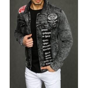 Originálna džínsová bunda s nášivkami a ozdobným zipsom