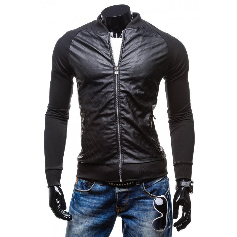 e5b9794de266 Pánska čierna mikina na zips bez kapucne - fashionday.eu