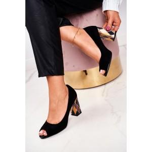 Elegantné čierne dámske lodičky s módnym opätkom