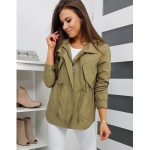 Klasická dámska jarná bunda so sťahovacou šnúrkou v páse