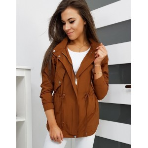 Hnedá dámska jarná bunda s kapucňou