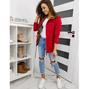 Červená dámska jarná bunda s kapucňou a dvoma vreckami