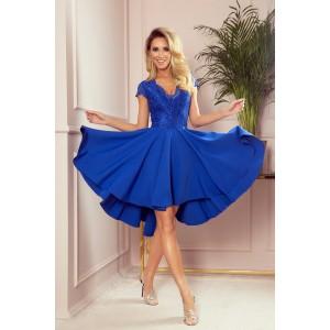 Romantické dámske modré šaty s čipkou a nariasenou sukňou