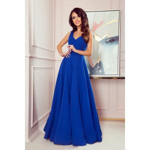 Luxusné dámske dlhé spoločenské modré šaty