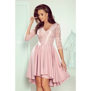 Krásne dámske spoločenské ružové šaty s dlhým rukávom