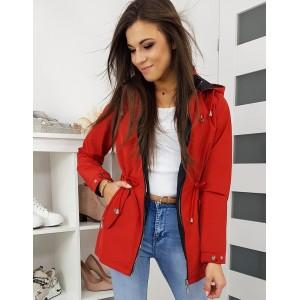 Červená prechodná bunda s kapucňou a troma vreckami