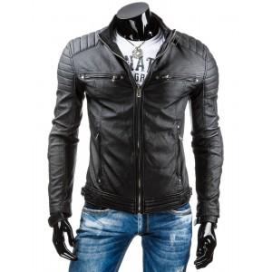 Pánska prechodná kožená bunda čiernej farby bez kapucne