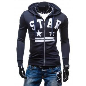 Pánska mikina s kapucňou tmavo modrej farby s nápisom STAR