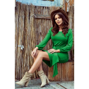 Štýlové dámske zelené pohodlné šaty so širokým opaskom