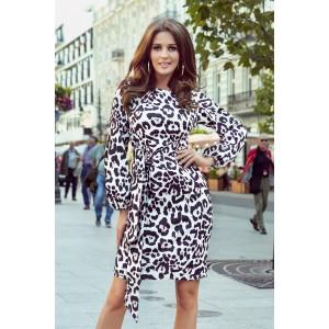Moderné dámske šaty s leopardím vzorom a top viazaním