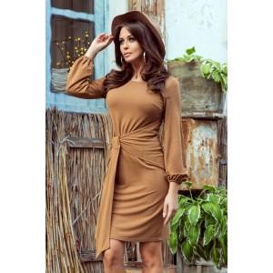 Dámske hnedé mini šaty s originálnym viazaním