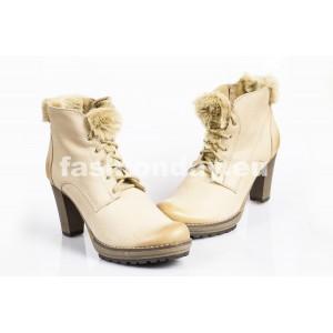 Zimné kožené topánky - BÉŽOVÁ