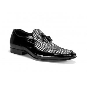 Lesklé pánske kožené topánky v čiernej farbe COMODO E SANO