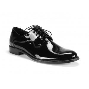 Pánske spoločenské kožené topánky v čiernej farbe