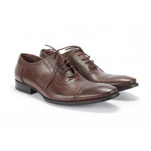 Pánske dierkované kožené topánky COMODO E SANO v hnedej farbe